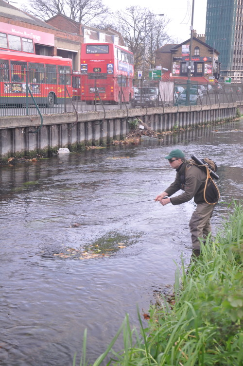 Theo Pike fly fishing Wandle